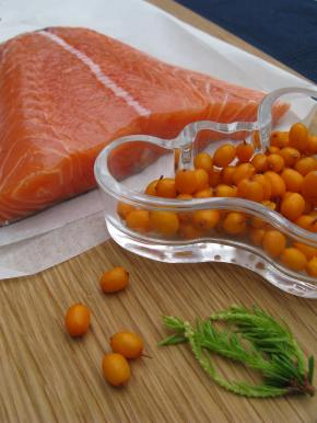 Gravadlax marinated with sea buckthorn berries